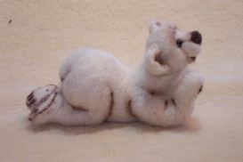 3D hand needle felted bear side
