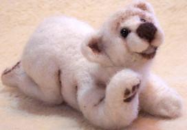 """3D felted bear 3"""" x5"""""""