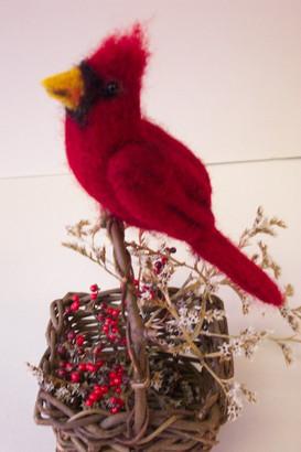 3D felted cardinal