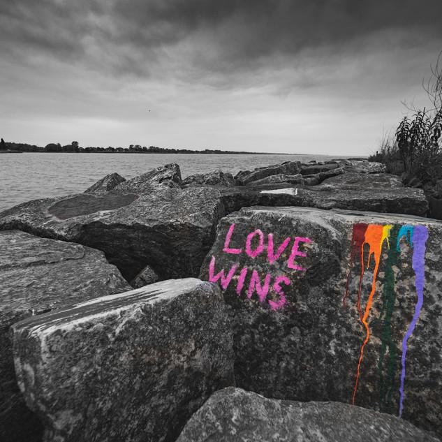 Graffiti on rock Two Rivers Wisconsin