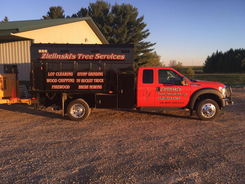 Zielinski tree services Truck in Pound Wisconsin