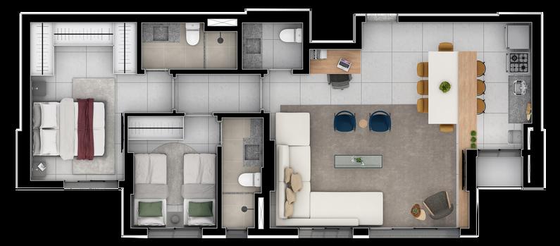 3 Quartos opção Sala Ampliada A  - 77 a 88