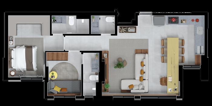 3 Quartos opção sala ampliada B - 77 A 88
