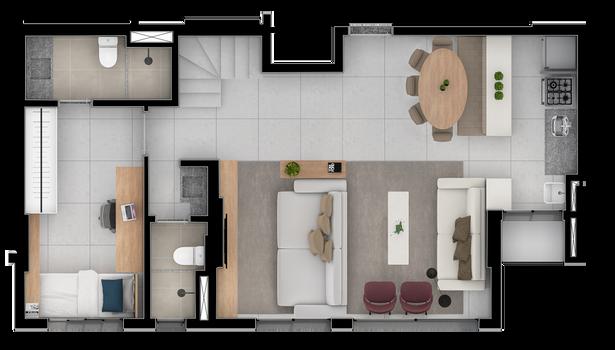 Duplex A inferior separado - 107 M
