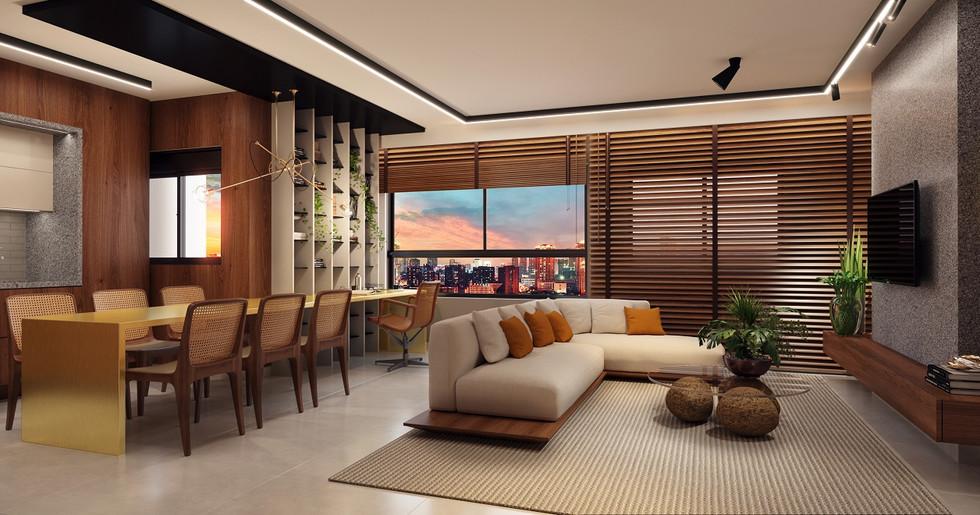 Living - 3 quartos - 77 a 84m²