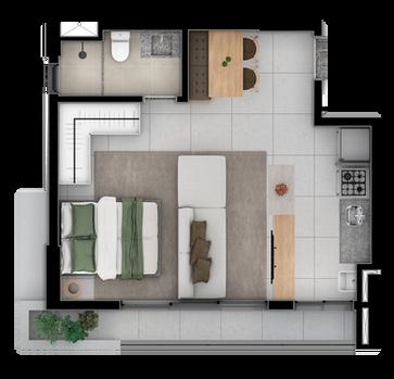 Studio A com varanda balcão - 44 a 47 M
