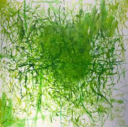 Rainer Gröschl, 2020, Green Fields II, 150 x 150 cm