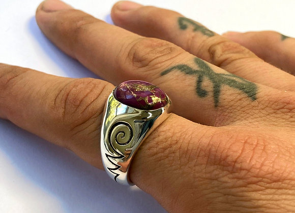 The Purple Turquoise Unalome Ring