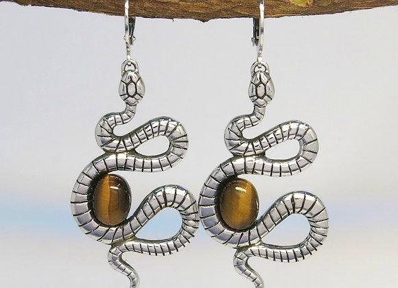 The Tigers Eye Snake Earrings