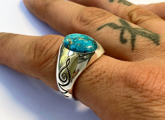 The Turquoise Unalome Ring