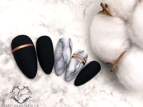 Press on set 'matte black & marble' - almond