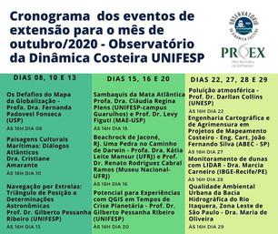 Programação outubro/2020 - palestras