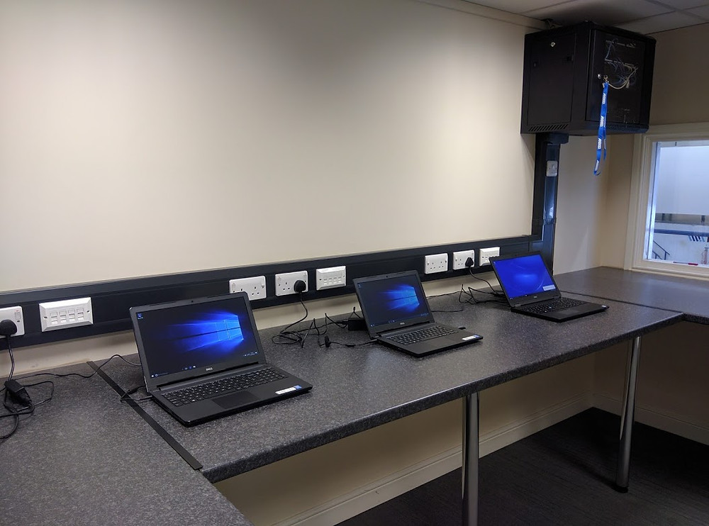 Deployment lab with computers laid out.