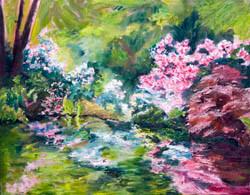 Oil painting of the Azalea Pond in Sebastopol, CA