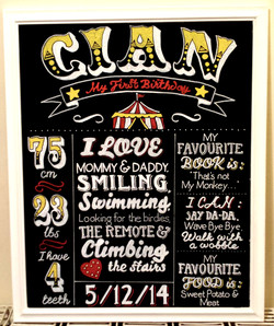 Cian 1st Birthday Gift Chalk Art