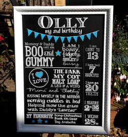 Olly 2nd Birthday Gift Chalk Art