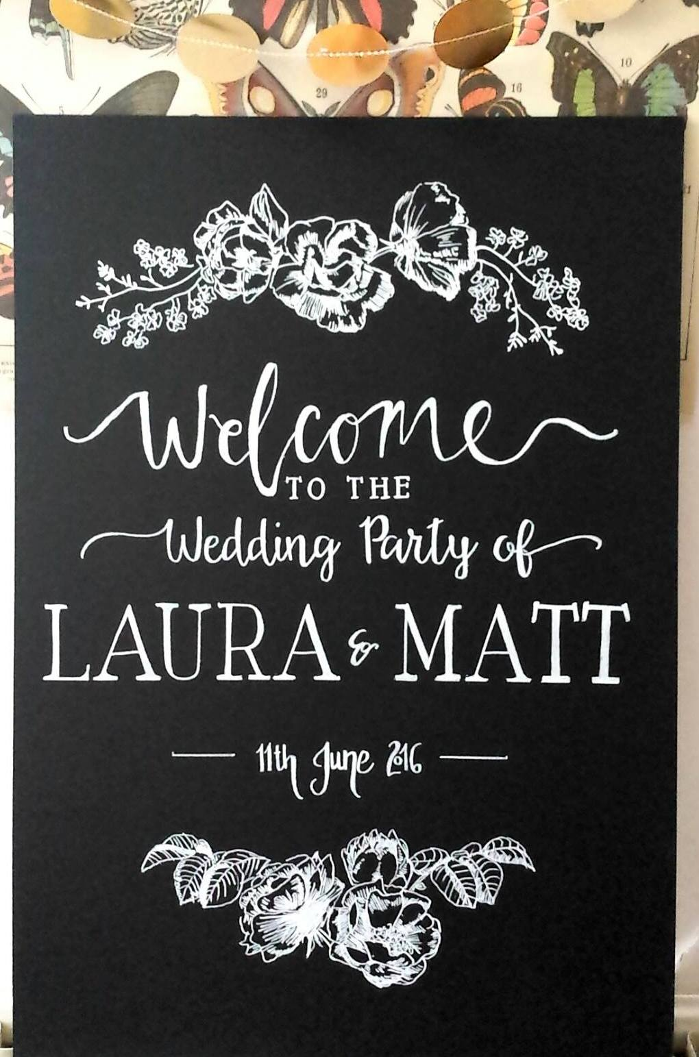 Laura & Matt Welcome Sign