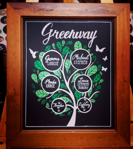 Greenway Family Tree Gift Chalk Art