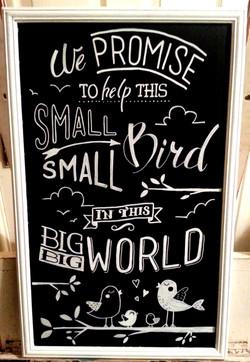 Baby Bird Gift Chalk Art