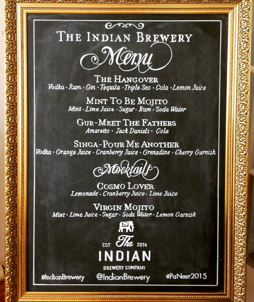 Indian Brewery Wedding Menu