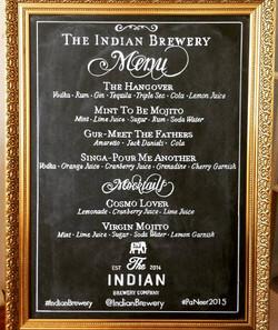 Indian Brewery Wedding Menu