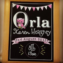 Baby Orla Gift Chalk Art