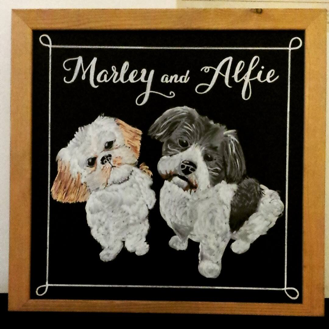 Marley and Alfie, Gift Chalk Art