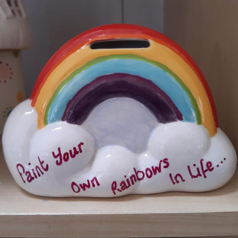 Paint your own rainbows pottery