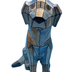 Faceted Dog Pottery Painting