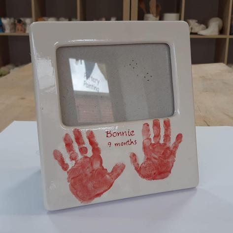 Handprints on frame