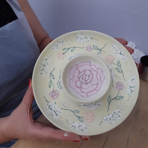 Painted chip and dip bowl