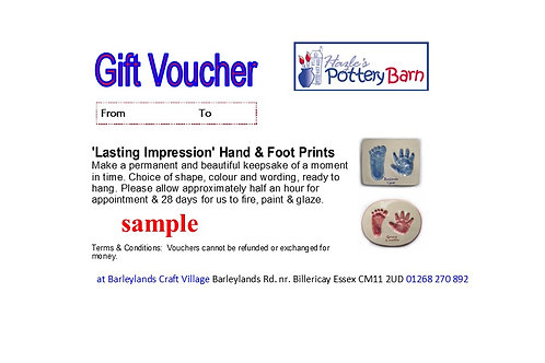 Lasting Impression - Hand & Footprint - Up to 16 weeks