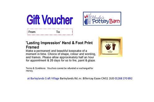 Lasting Impression - Hand & Footprint - Up to 16 weeks - Framed