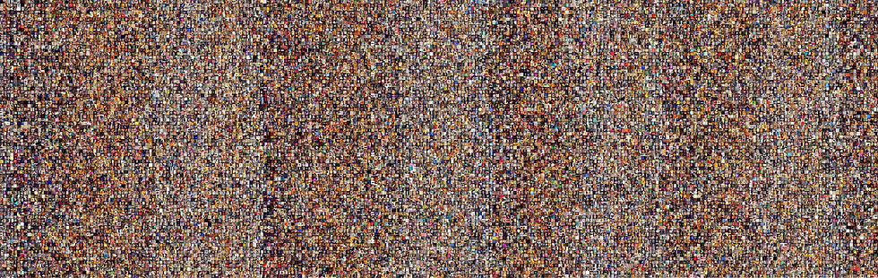 Montage visualization of 53,498 photos
