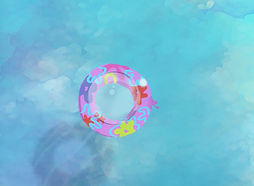 A bubble meets a flowery floating ring