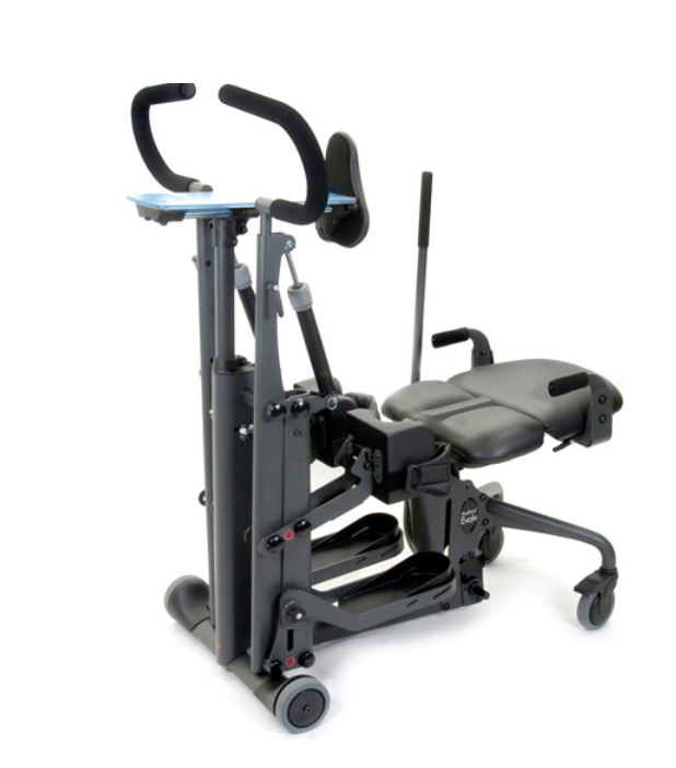 The EasyStand Glider features state-of-the-art active standing technology found in no other stander. Active standing provides lower body range of motion and upper body strengthening. Unlike passive standers, users move the handles with their arms (or a caregiver can assist) which creates a reciprocal movement in the legs. The full range seat has hinged, break-away sections for each leg that allow full leg extension while standing. This advanced stander enhances the medical benefits of standing and keeps the body in shape for medical breakthroughs. Numerous research studies suggest that use of an active standing frame can positively affect an individual's health.