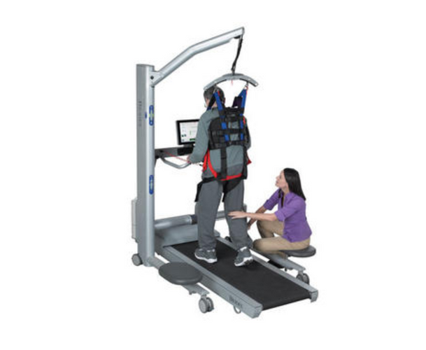 The Biodex NxStep™ Unweighing System enables partial weight-bearing therapy with open access to the patient. Offloading a percentage of body weight enables the opportunity for early rehabilitation while providing a safe environment for patient and therapist. Therapists can focus on treating their patients, manually facilitating lower extremities.  The dynamic, single-point suspension of NxStep accommodates pelvic rotation and vertical displacement. This encouragement of proper mechanics allows functional gait patterns to be practiced. When used in combination with the Biodex Gait Trainer, a comprehensive gait training environment complete with audio and visual biofeedback, is possible.
