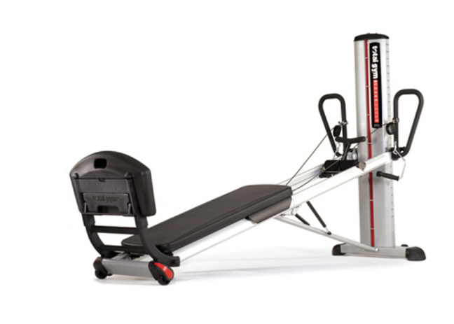 Total Gym (TG) -is a piece of equipment that offers us the opportunity to allow our patients to weight bear while completing exercises to work other areas of their body such as the core or upper limbs. It also has an attached pully system which can be used to get our clients to pull the platform that they are seated on (ie using their arms to pull their own body weight). Weight bearing is good to help increase/maintain bone mineral density (BMD) in those with SCI. Decreased BMD occurs when there is no longer load placed through the limbs and therefore bones causing them to become brittle and at increased risk of breakage or injury.