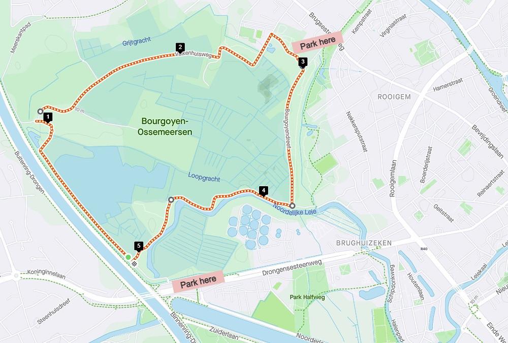 map of route around Bourgoyen-Ossemeersen