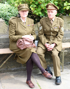 Couple in 40s period costume For Haworth 1940s event