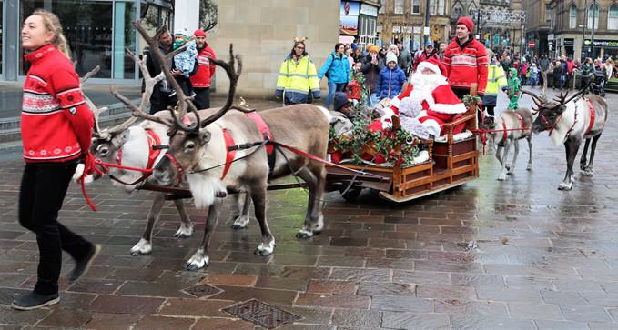 Reindeer and Santa Claus Bradford 2019