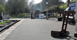 Train approaches Oakworth station