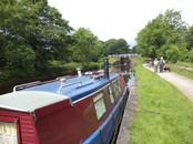 Canal boat morred at Hirst Wood