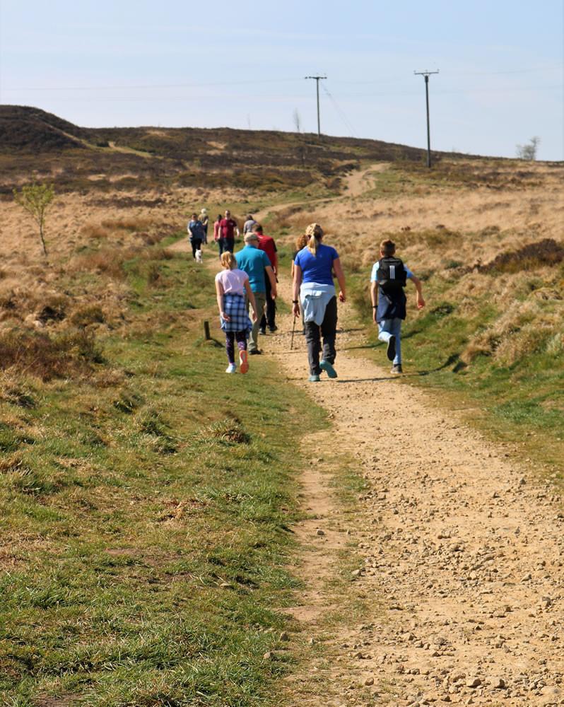 Walkers on Haworth moor