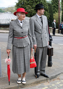 Participants to the Haworth 1940's weekend in wartime costumes