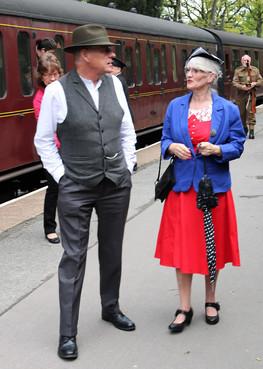 Reenactors arrive at KWVR Haworth station