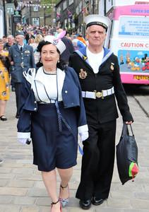 Couple in period sailor  costumes Hawort 1940s