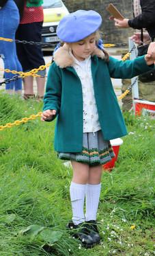 Young girl evacuee costume Haworth 1940s