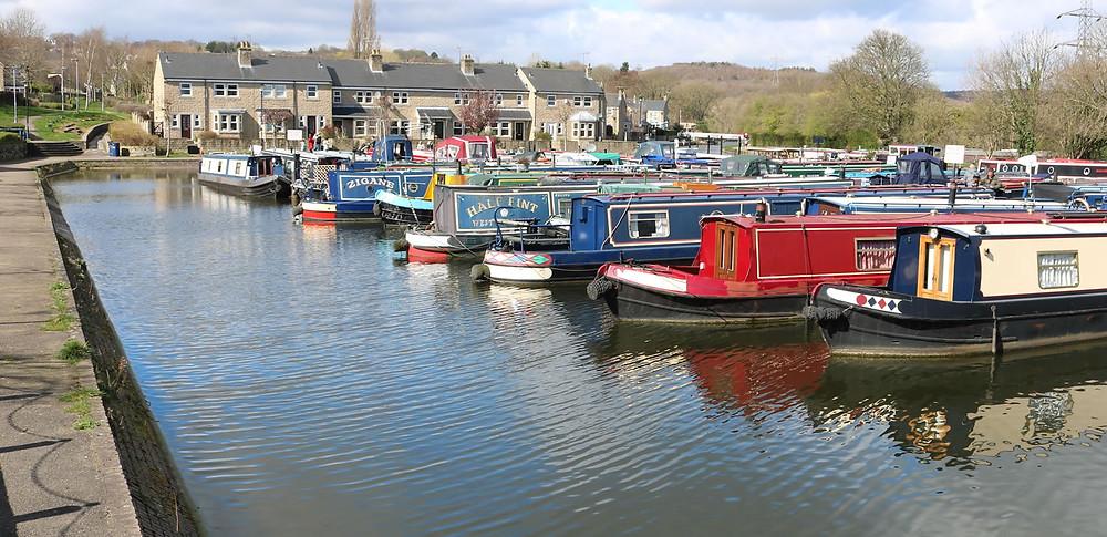 Boats moored at Apperley Bridge ( Calder Valley )Marina