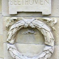 banstand  relief carving of Beethoven